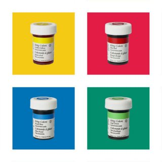 Wilton EU Icing Color Kit 4 x 28g (Red Red, Golden Yellow, Royal Blue, Leaf Green)